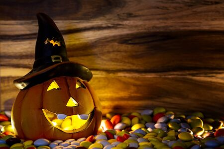 chocolate candy: halloween pumpkin with chocolate candy candlelight