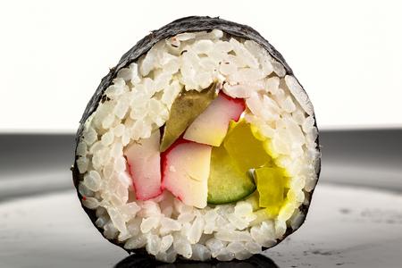 raw fish: macro sushi rice and raw fish