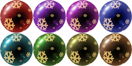 variety: christmas balls with snowflake in variety colors Stock Photo