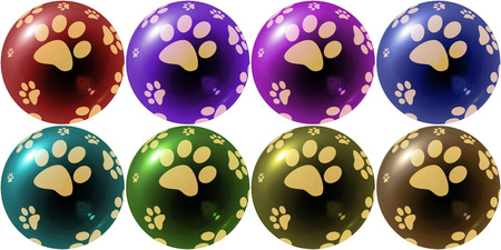variety: christmas balls illustration with dog footprint in variety colors