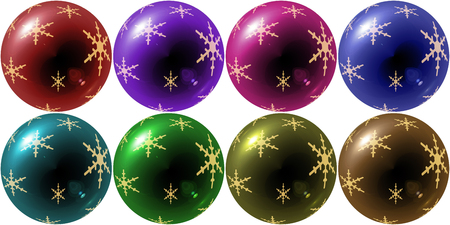 variety: christmas balls illustration with snowflake in variety colors