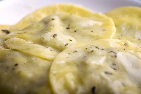 ravioli with italian pesto in a plate Archivio Fotografico