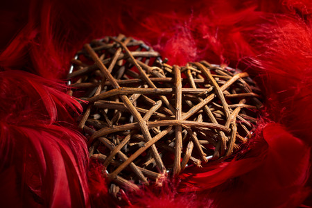 midst: wooden heart in the midst of red feathers Stock Photo