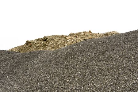 building material: pile of gravel outdoors for building material Stock Photo
