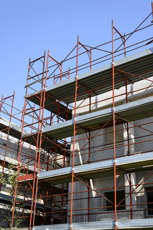rafter: construction site of a residential building Stock Photo