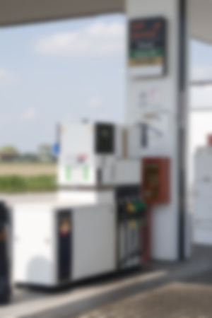 refueling: blurred gas station for refueling Stock Photo