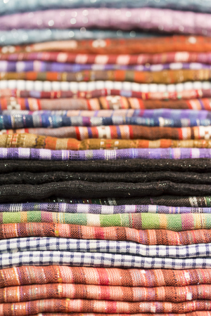 scarves: stack of multicolored cotton scarves Stock Photo