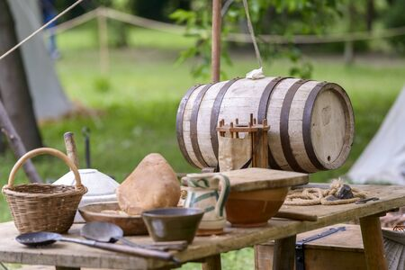 historical events: medieval objects rebuilt to a historical reenactment