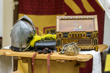 reenactment: objects of a medieval knight at a reenactment
