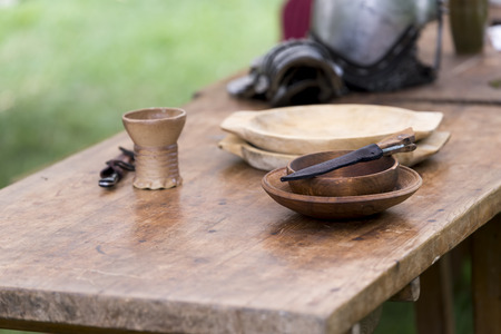 reenactment: medieval objects rebuilt to a historical reenactment
