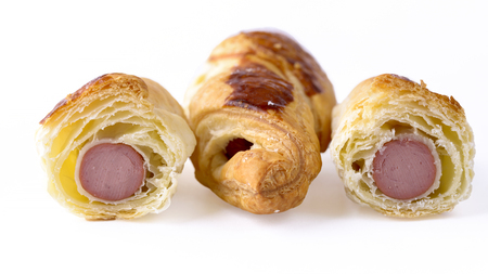 three sausage roll isolated on white background