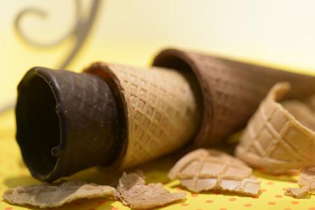 cornet: Three different types of chocolate wafer ice cream cones Stock Photo