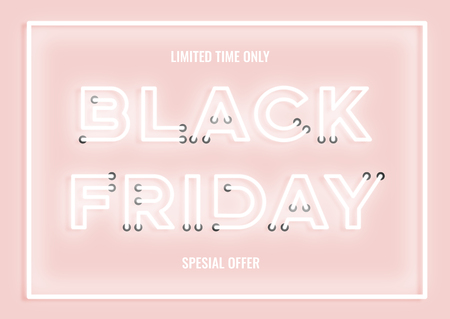 Black friday sale pink neon electric letters illustration. Concept of advertising for seasonal offer with glowing neon text.