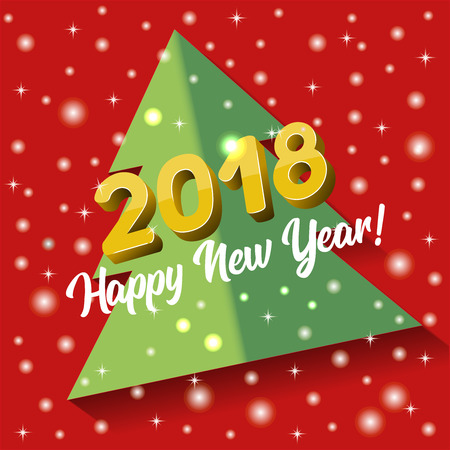 2018 Happy New Year greeting card or poster template or invitation design, with shiny,  bright lights dots and Christmas tree design.