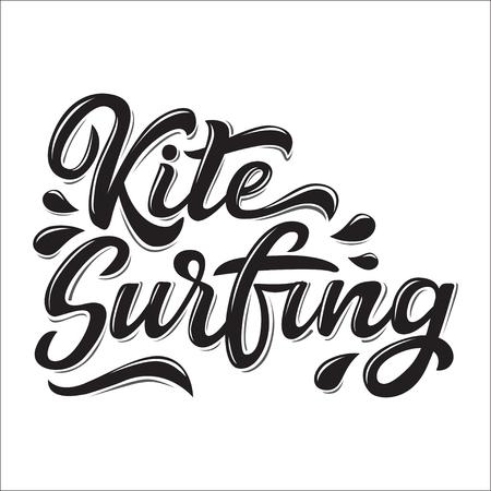 Kitesurfen belettering logo in graffiti stijl geïsoleerd op een witte achtergrond. Vector illustratie voor design t-shirts, banners, labels, kleding, kleding, water extreme sporten competitie.