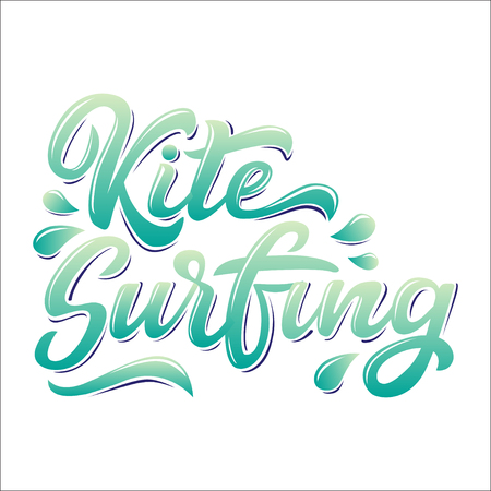 Kitesurfing lettering logo in graffiti style isolated on white background. Vector illustration for design t-shirts, banners, labels, clothes, apparel, water extreme sports competition.