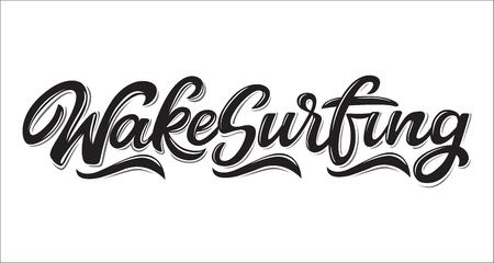 Wake Surfing Logo Logo in Graffiti-Stil isoliert auf weißem Hintergrund