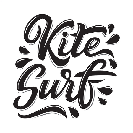 Kitesurf lettering logo in graffiti style isolated on white background. Vector illustration for design t-shirts, banners, labels, clothes, apparel, water extreme sports competition.