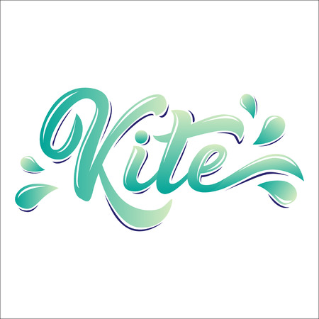 Kite board lettering logo in graffiti style isolated on white background. Vector illustration for design t-shirts, banners, labels, clothes, apparel and water extreme sports competition.