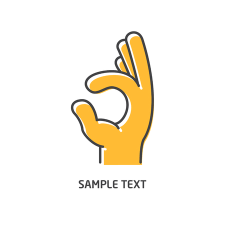 Hand line icon. Hand sign ok vector illustration. Black line with shifted flat orange filled icon on white background.