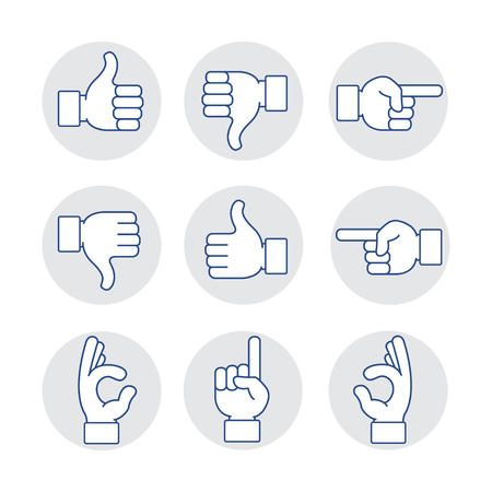 hands icon set Vectores