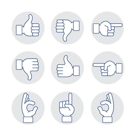hands icon set Vectores