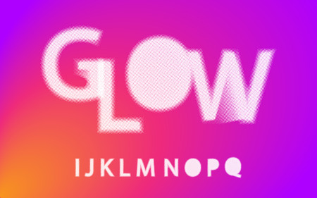 Glow halftone font Alphabet i j k l m n o p q