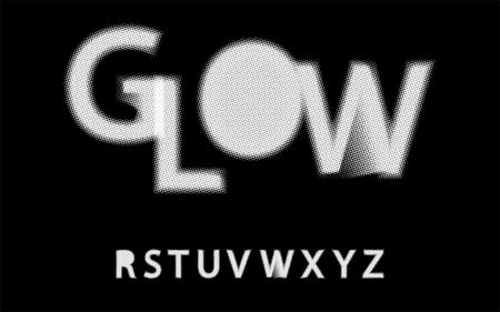 Glow halftone font Alphabet r s t u v w x y z