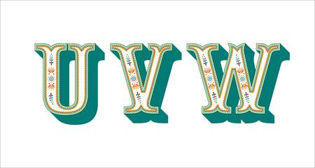 folk alphabet ornamental floral letter U V W