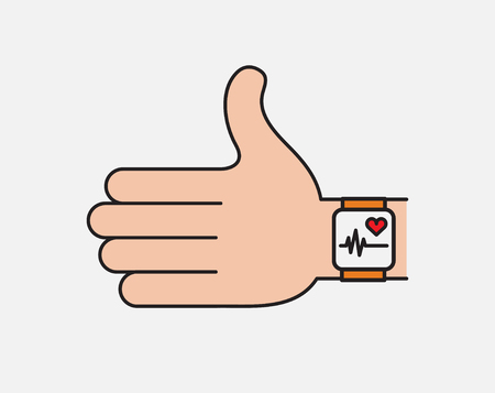 Fitness technology flat vector icon. Hand with smart watch. modern fitness tracking thin line icon.