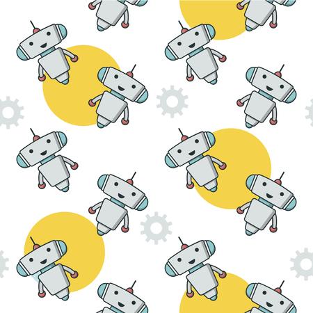 Cute robot sameless pattern