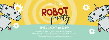 Banner promozionale di robot party Vettoriali