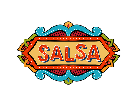 Salsa party vector logotype. Poster for dance party, cards, banners, t-shirts, dance studio.