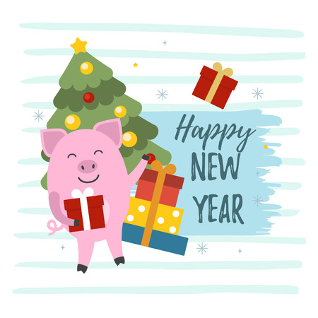 Vector illustration of 2019. Symbol of Chinese New Year 2019. Cute pigs, gift boxes and christmas tree illustrations with Happy New Year text