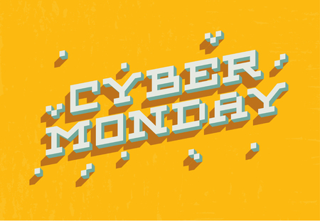 Cyber monday sale promo banner with bold 3d pixel letters for discount offer or final clearance on holidays season.