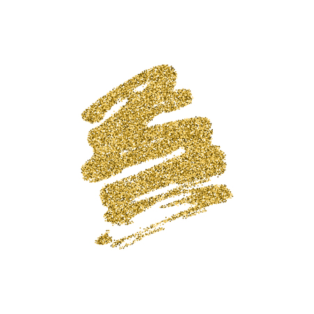 Abstract brush strokes with golg glitter texture isolated on white background. Glamour gliiering shine paint vector element.