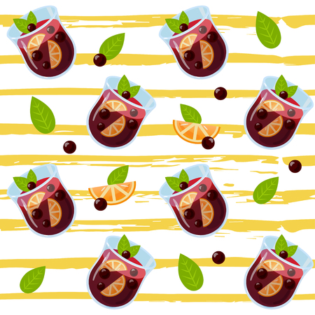 Mulled wine seamless pattern. Autumn drink. Christmas holiday alcoholic cocktail. Vector EPS10. Colorful realistic illustration glintwein. Anise star, cinnamon sticks, orange, wine and cloves. 向量圖像