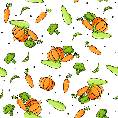 Colourful seamless pattern with healthy food icons. Vector vegetables background with carrot, pumpkin, zucchini, broccoli for cooking blog, menu, cafe, restorant