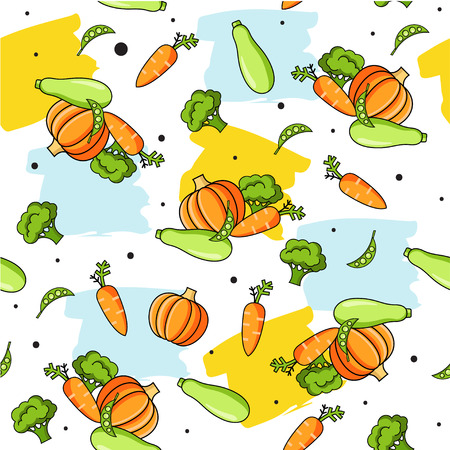 Colourful seamless pattern with healthy food icons and brush strokes. Vector vegetables background with carrot, pumpkin, zucchini, broccoli for cooking blog, menu, cafe, restorant