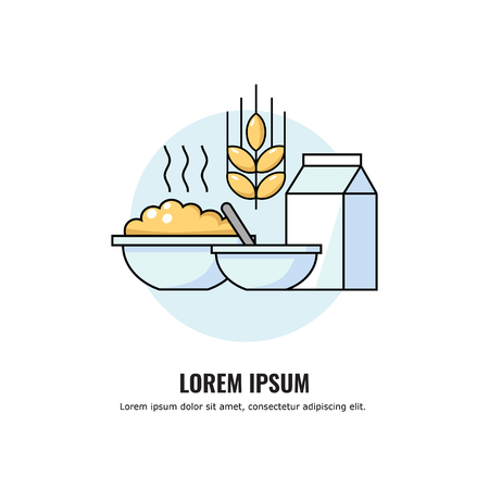 Vector illustration of porridge with milk in a plate. healthy organic breakfast in deep bowl. Hot Cereal with bouwls, spoon, gable top package with flat style illustration of a healthy food. Çizim