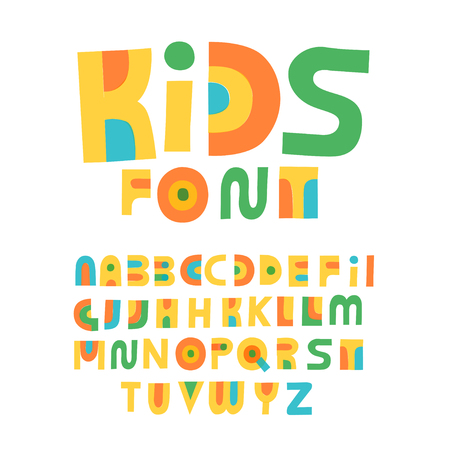 Cute hand drawn alphabet made in vector. Doodle letters for your design. Isolated different characters. Handdrawn display font for DIY projects and kids design. Çizim