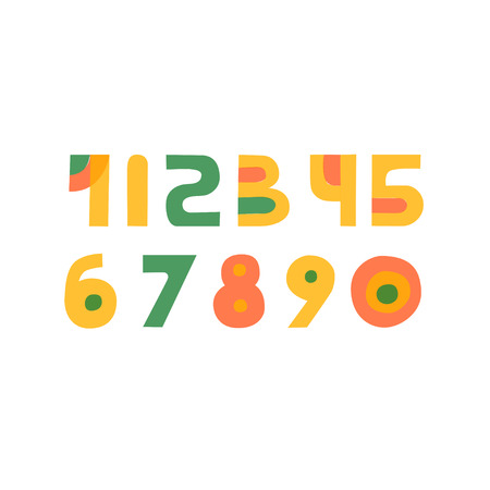 Cute colorful Handdrawn papercut numbers set for kids made in vector. Doodle math elements from 0 to 9. Isolated characters. Çizim