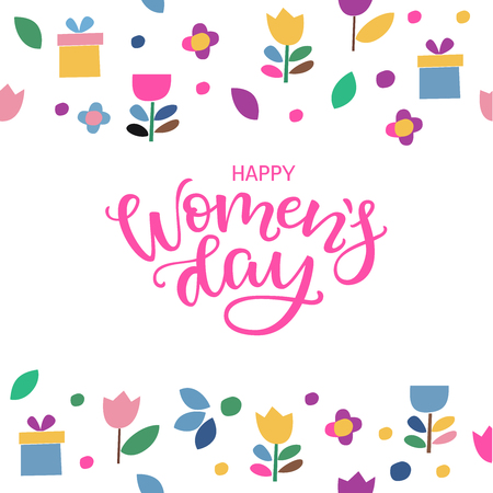 Postcard to March 8, International Women's Day with hand lettering. Vector illustration with modern calligraphy. Women s Day text design with flowers and gift.