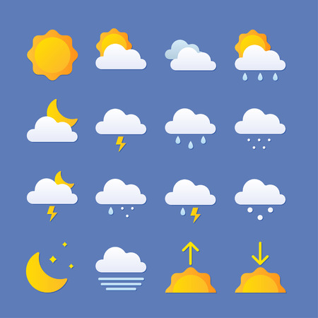 Modern Weather Icons Set. Flat vector symbols For Print, Web or Mobile App Çizim