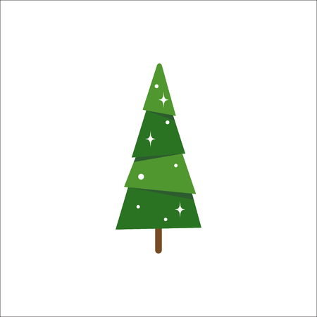 Christmas tree vector illustration in flat style isolated on white background. Congratulation card template, flat icon for apps and websites.