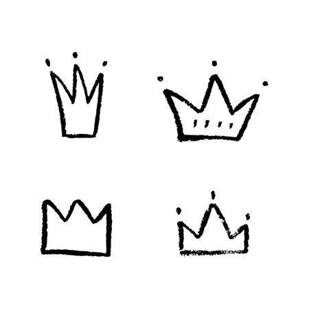 hand drawn crowns Stock Illustratie