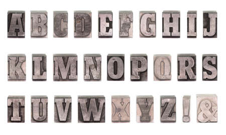 plumb: Old plumb letters which were used to print newspapers in the past. Stock Photo
