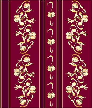 claret: Claret wallpaper with a gold flower pattern. Vector.
