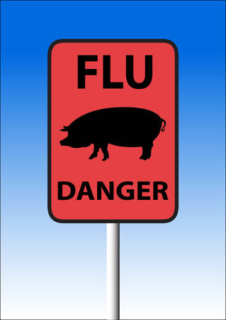 Sign warning about danger of infection with a flu of a pig. Vector. Vector