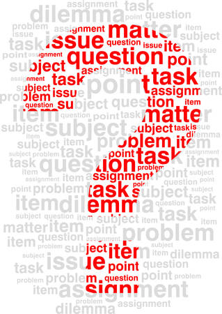 The abstract image of a sign on a question against words. Vector. Illustration